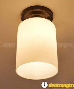 Đèn Ốp Trần Thủy Tinh Nhám Đế Đen Hình Trụ - DV00085 A