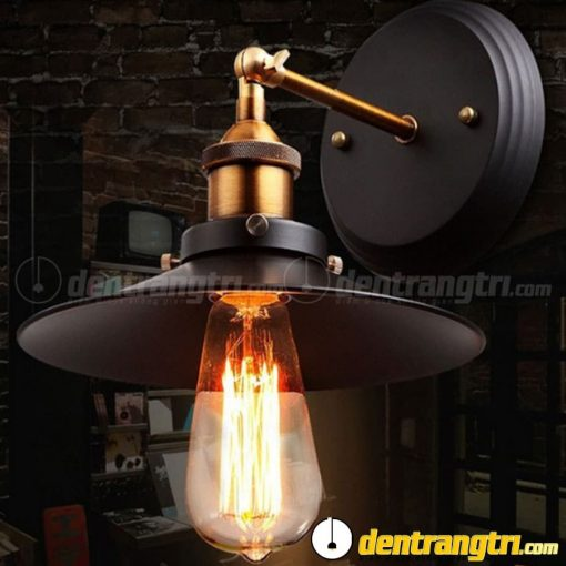 Đèn Vách Chao Bẹt Phối Vàng Đồng - DV00136