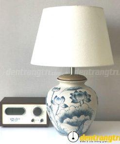 Đèn Bầu Men Rạn Hoa Sen - DGAK013
