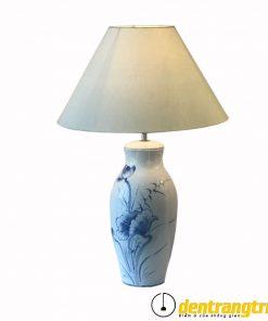 Đèn Sứ Trắng Sen Xanh Lớn - DGAK003