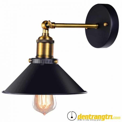 Đèn Vách Chao Đen Phối Vàng Đồng - DV00017