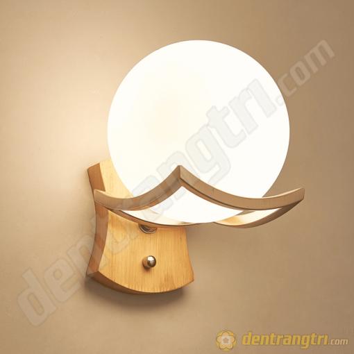 Đèn Vách Cầu Thủy Tinh Đế Gỗ - DV00080